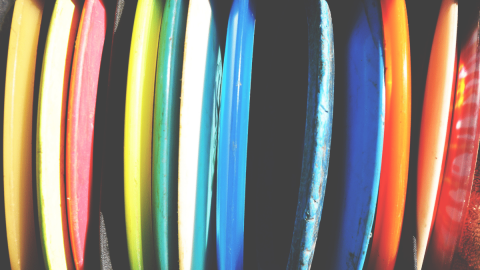 brightly colored frisbees